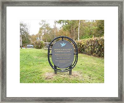 Framed Print featuring the photograph Donald Campbell Memorial by JLowPhotos