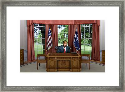 Donald Trump In The Oval Office Framed Print by Movie Poster Prints