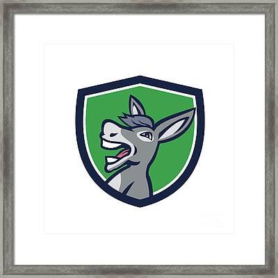 Donkey Head Shouting Crest Retro Framed Print by Aloysius Patrimonio