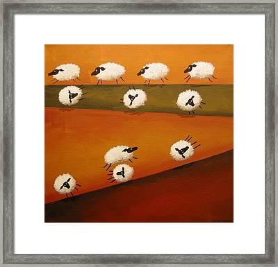 Donkey Kong Sheep - Folk Art Framed Print by Debbie Criswell