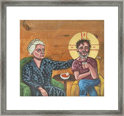 Don't Call Me A Saint- Dorothy Day With Homeless Christ Framed Print
