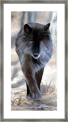 Framed Print featuring the painting Gray Wolf Treading Carefully by James Shepherd