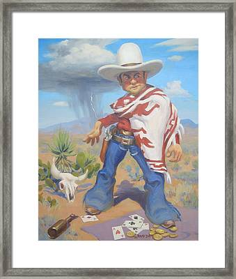 Don't Slap Leather With The Pecos Kid Framed Print by Texas Tim Webb