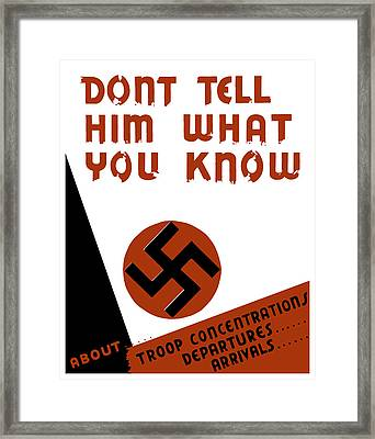 Don't Tell Him What You Know Framed Print