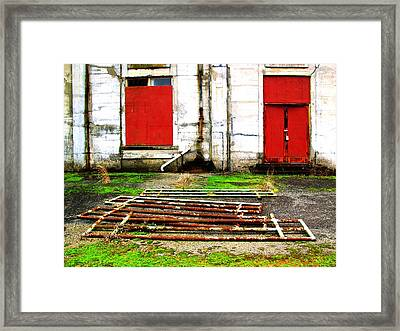 Dont Think Of Red Doors Framed Print by Lee M Plate