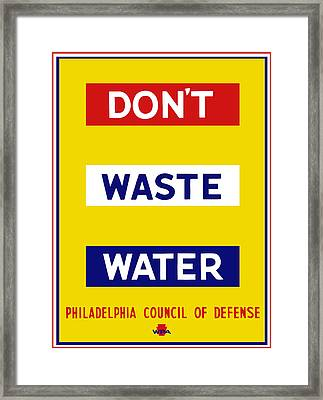 Don't Waste Water - Wpa Framed Print
