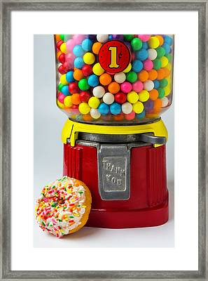 Donut And Bubblegum Machine Framed Print by Garry Gay