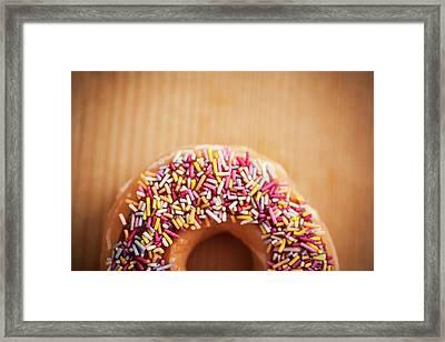 Donut And Sprinkles Framed Print by Samuel Whitton