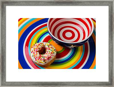 Donut Blowl And Plate Framed Print by Garry Gay