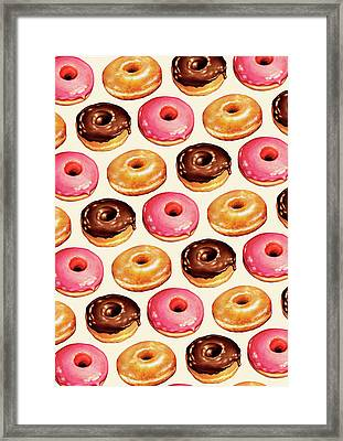 Donut Pattern Framed Print by Kelly Gilleran
