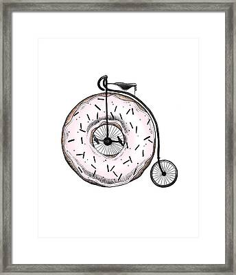 Donut Ride My Bicycle Framed Print