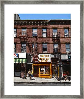 Donut Shop Framed Print by Ted Papoulas