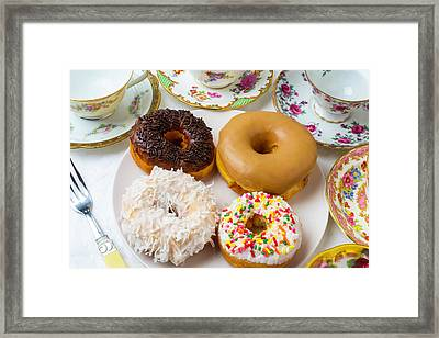 Donuts And Tea Cups Framed Print