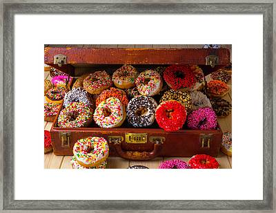 Donuts In Suitcase Framed Print by Garry Gay