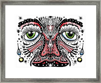 Framed Print featuring the digital art Doodle Face by Darren Cannell