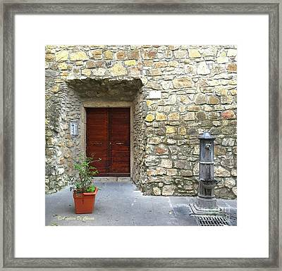 Door And Fountain  In Anzio Italy Framed Print