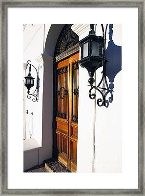 Door And Lamps Framed Print by Thomas R Fletcher