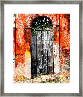 Door At The Red Corner By Darian Day Framed Print