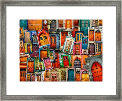 Door Collage Mashup Framed Print by TK Goforth