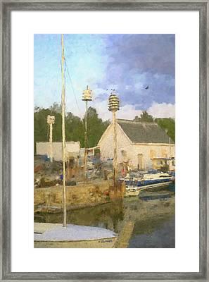 Door County Marina  Framed Print by Renee Skiba