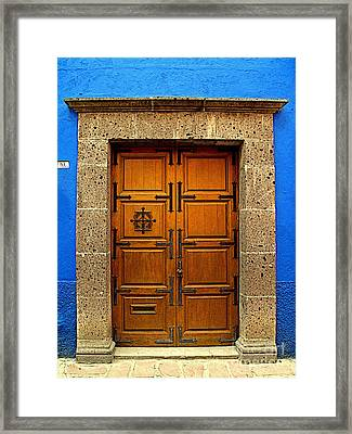 Door In Blue Framed Print by Mexicolors Art Photography