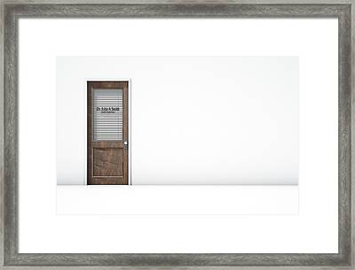 Door In Doctors Room Framed Print by Allan Swart