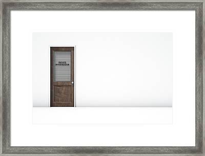Door In Private Eye Room Framed Print by Allan Swart