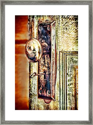 Door Knob With Key Framed Print by HD Connelly