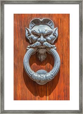 Door Knocker Of Tuscany Framed Print by David Letts