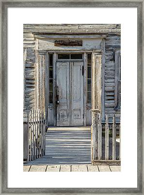 Door Of The Old Bannack Schoolhouse And Masonic Temple Framed Print
