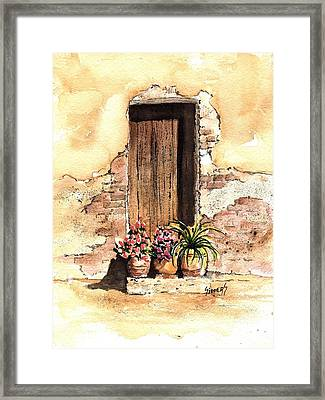 Door With Flowers Framed Print by Sam Sidders