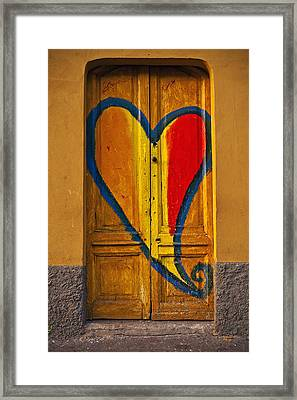 Door With Heart Framed Print