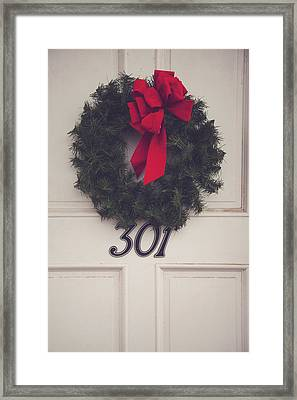 Door With Red Bow Wreath Framed Print by Toni Hopper