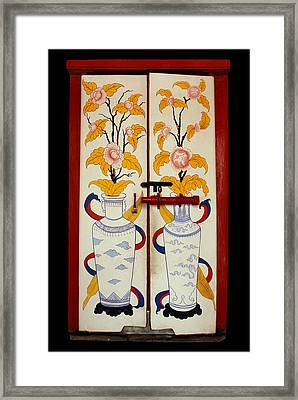Door With Two Vases Framed Print by Ty Lee