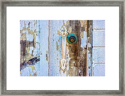Door With Weathered Paint Framed Print