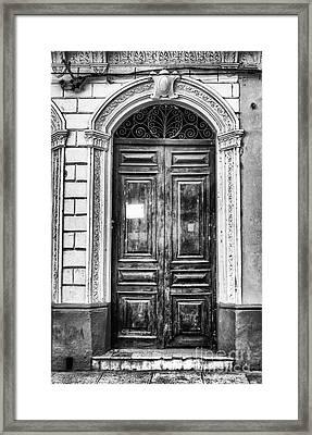 Doors Of Cuba Green Door Bw Framed Print