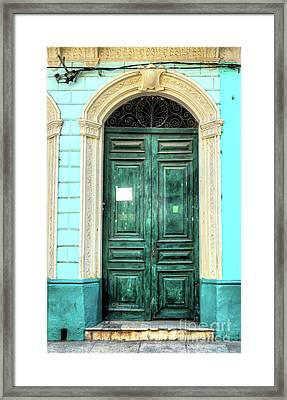 Doors Of Cuba Green Door Framed Print by Wayne Moran