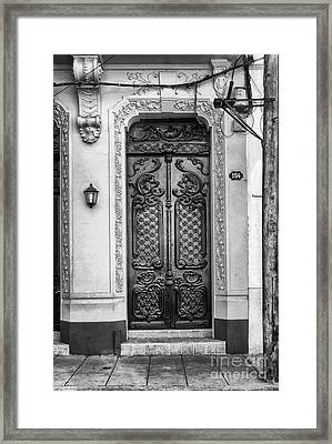 Doors Of Cuba Yellow Door Bw Framed Print by Wayne Moran