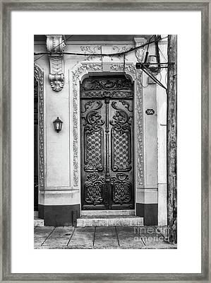 Doors Of Cuba Yellow Door Bw Framed Print