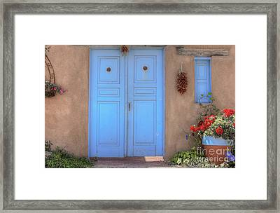 Doors, Peppers And Flowers. Framed Print