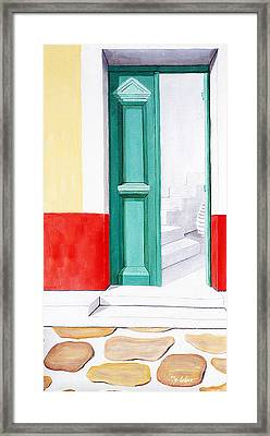 Doorway To Mykonos - Prints Of Original Oil Painting Framed Print by Mary Grden Fine Art Oil Painter Baywood Gallery