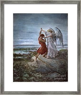 Dor�: Jacob & Angel Framed Print by Granger