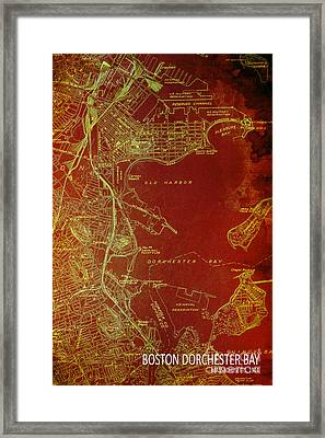 Dorchester Bay Old Map Framed Print