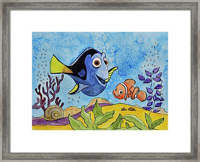 Dori And Nemo Framed Print