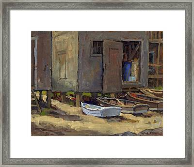 Dories On Fish Beach Framed Print by Thor Wickstrom