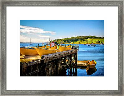 Dories On The Dock Framed Print