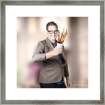 Dorky Office Guy Splashing Coffee. Caffeine Hit Framed Print by Jorgo Photography - Wall Art Gallery
