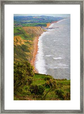Dorset Coast View Towards West Bay And Chesil Beach England Uk Illustration Like Oil Painting Framed Print