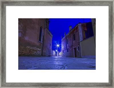 Dorsoduro By Night Framed Print by Jean-luc Bohin
