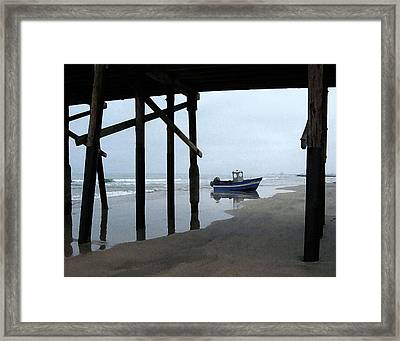 Dory Boat At Newport Beach Framed Print by Timothy Bulone